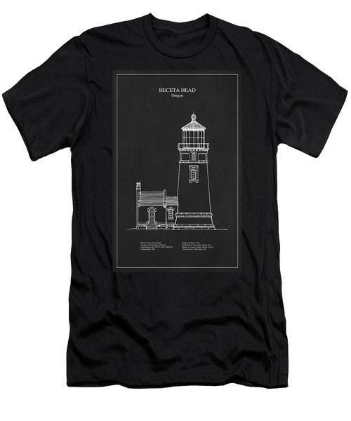 Heceta Head Lighthouse - Oregon - Blueprint Drawing Men's T-Shirt (Athletic Fit)