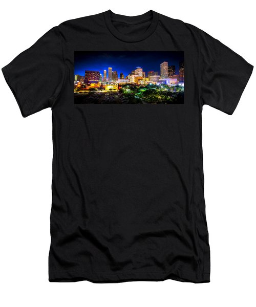 Men's T-Shirt (Athletic Fit) featuring the photograph Houston City Lights by David Morefield
