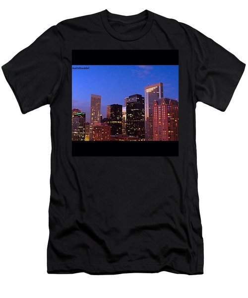 #houston #skyline At Dusk. #night Men's T-Shirt (Athletic Fit)