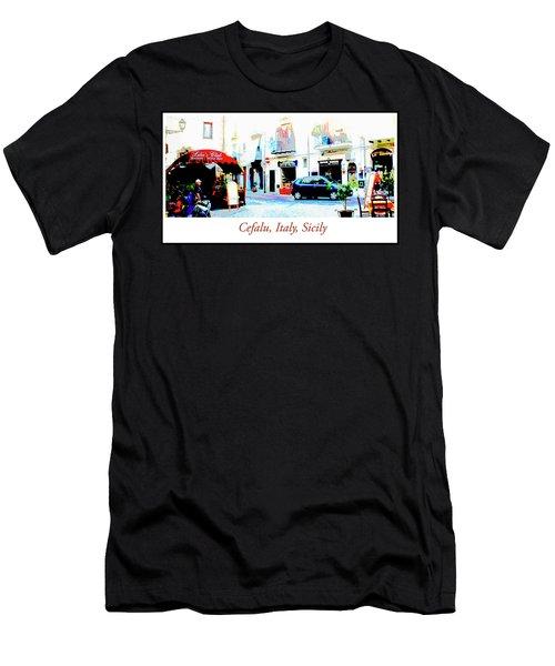 Italian City Street Scene Digital Art Men's T-Shirt (Athletic Fit)
