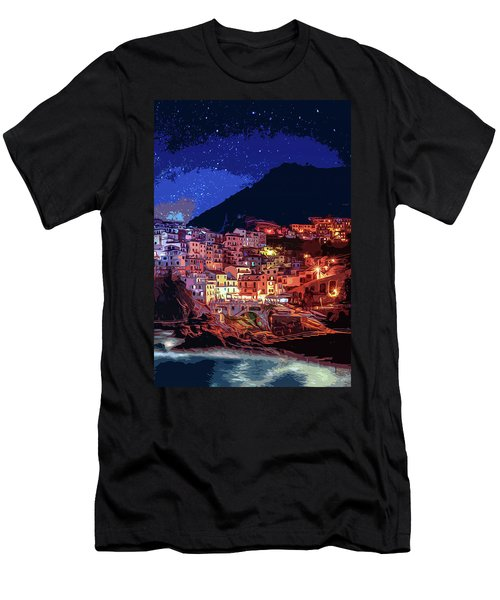 Italy, Manarola At Night Men's T-Shirt (Athletic Fit)