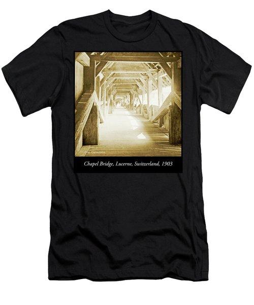 Kapell Bridge, Lucerne, Switzerland, 1903, Vintage, Photograph Men's T-Shirt (Athletic Fit)