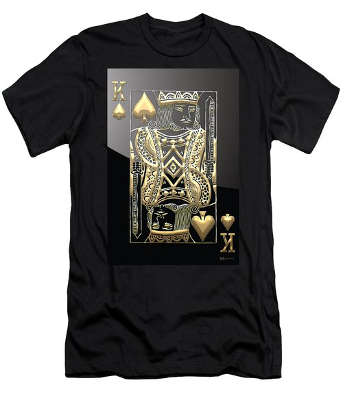 King Of Spades In Gold On Black   Men's T-Shirt (Athletic Fit)