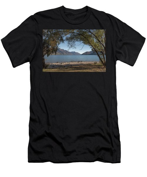 Men's T-Shirt (Athletic Fit) featuring the photograph Lake Wakatipu Shore Early Morning by Gary Eason