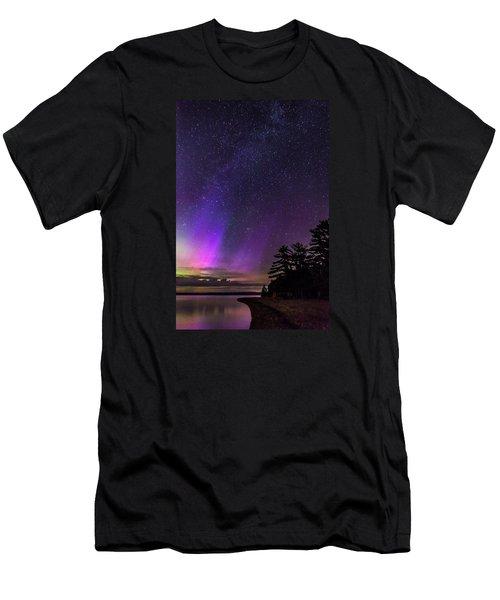Lake Winnipesaukee Aurora Borealis Men's T-Shirt (Athletic Fit)