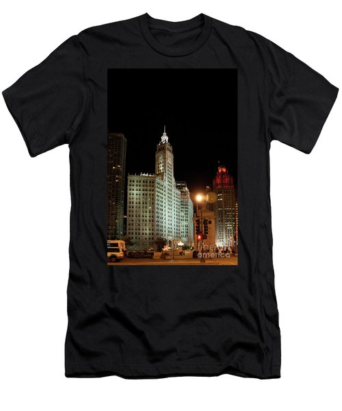 Looking North On Michigan Avenue At Wrigley Building Men's T-Shirt (Athletic Fit)