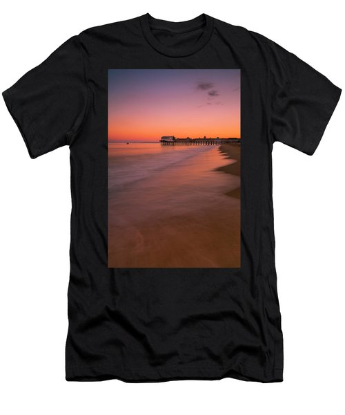 Men's T-Shirt (Athletic Fit) featuring the photograph Maine Old Orchard Beach Pier Sunset by Ranjay Mitra