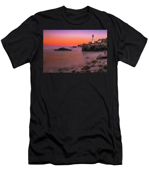 Men's T-Shirt (Athletic Fit) featuring the photograph Maine Portland Headlight Lighthouse At Sunset by Ranjay Mitra