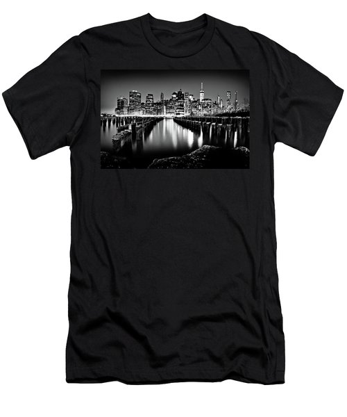 Manhattan Skyline At Night Men's T-Shirt (Athletic Fit)