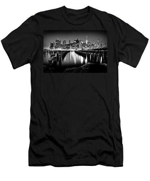 Manhattan Skyline At Night Men's T-Shirt (Athletic Fit)