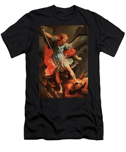 Michael Defeats Satan Men's T-Shirt (Athletic Fit)
