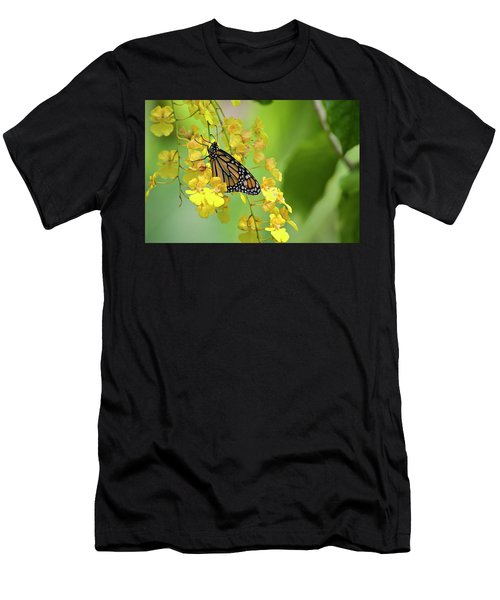 Monarch Butterfly On Yellow Orchids Men's T-Shirt (Athletic Fit)