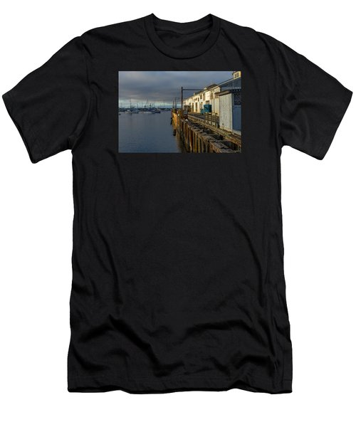 Monterey Commercial Wharf Men's T-Shirt (Slim Fit) by Derek Dean