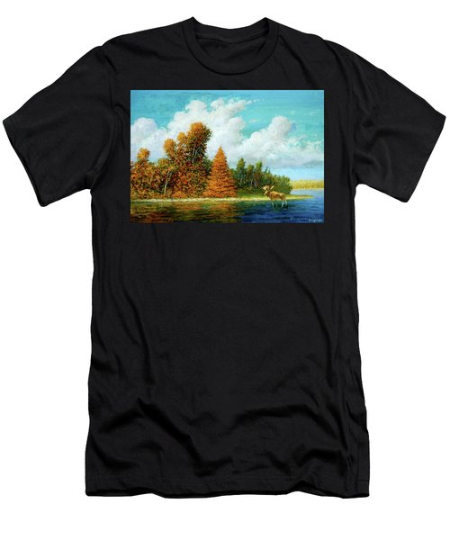 Men's T-Shirt (Athletic Fit) featuring the painting Moose Country by Mel Greifinger