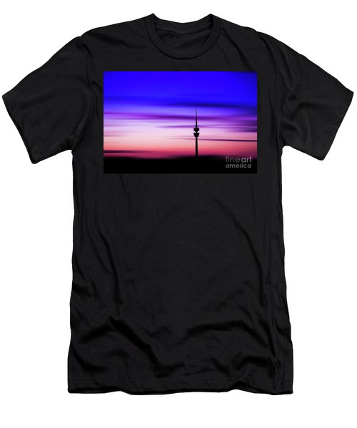 Men's T-Shirt (Slim Fit) featuring the photograph Munich - Olympiaturm At Sunset by Hannes Cmarits
