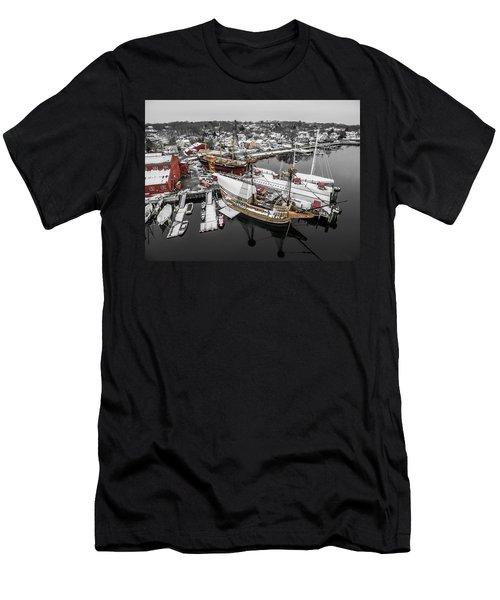 Mystic Seaport In Winter Men's T-Shirt (Athletic Fit)