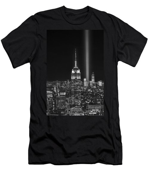 New York City Tribute In Lights Empire State Building Manhattan At Night Nyc Men's T-Shirt (Slim Fit) by Jon Holiday