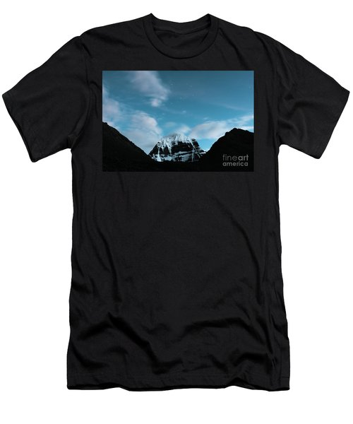 Night Sky Holy Kailas Himalayas Tibet Yantra.lv Men's T-Shirt (Athletic Fit)