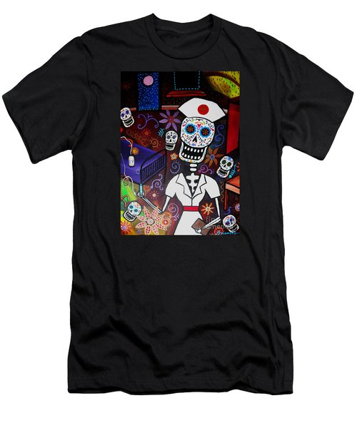 Nurse Dia De Los Muertos  Men's T-Shirt (Slim Fit) by Pristine Cartera Turkus