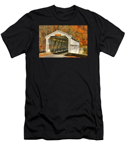 Pa Country Roads - Knox Covered Bridge Over Valley Creek No. 2a - Valley Forge Park Chester County Men's T-Shirt (Athletic Fit)
