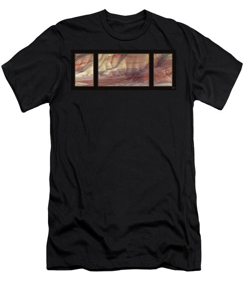Men's T-Shirt (Slim Fit) featuring the photograph Painted Hills Triptych by Leland D Howard