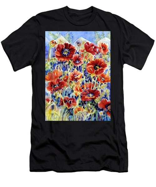 Picket Fence Poppies Men's T-Shirt (Athletic Fit)