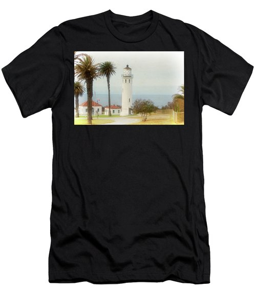 Point Vincente Lighthouse, California In Retro Style Men's T-Shirt (Athletic Fit)