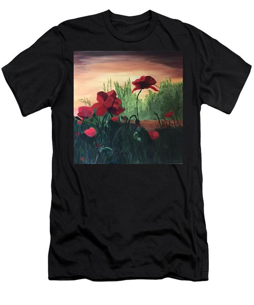 Men's T-Shirt (Athletic Fit) featuring the painting Poppies by Jane Croteau