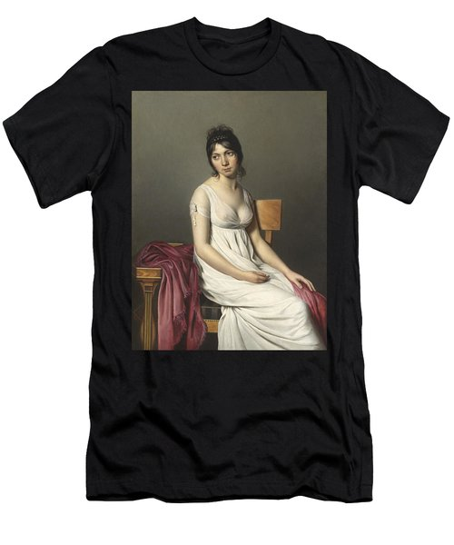 Portrait Of A Young Woman In White Men's T-Shirt (Athletic Fit)