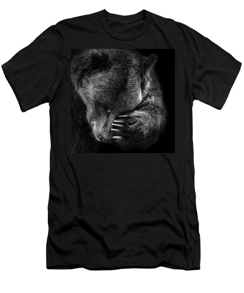 Portrait Of Bear In Black And White Men's T-Shirt (Athletic Fit)