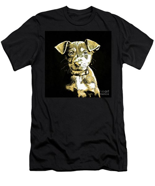 Puppy Dog Graphic Novel Drawing Men's T-Shirt (Athletic Fit)