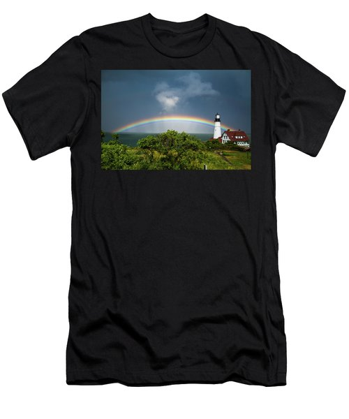 Rainbow At Portland Headlight Men's T-Shirt (Athletic Fit)