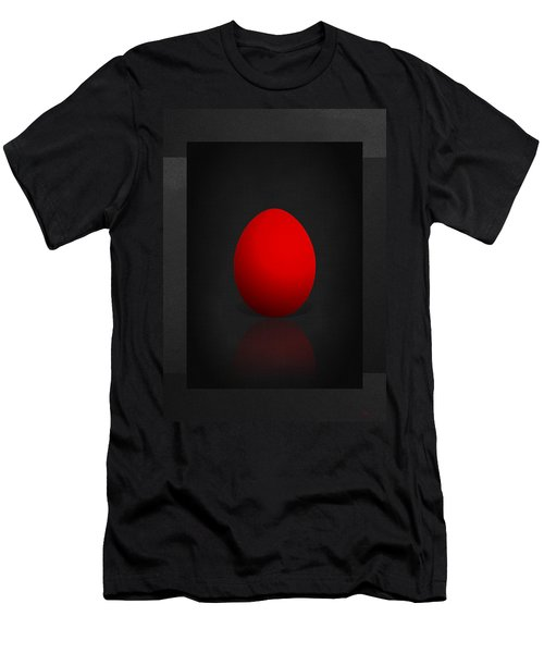 Red Egg On Black Canvas  Men's T-Shirt (Slim Fit) by Serge Averbukh