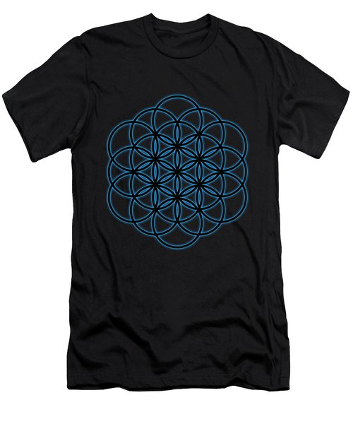 Sacred Geometry - Black Flower Of Life - Seed Of Life With Blue Halo Over Black Canvas Men's T-Shirt (Athletic Fit)