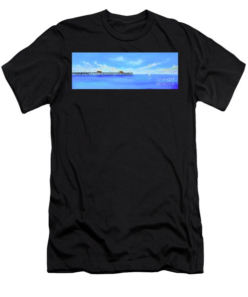 Men's T-Shirt (Athletic Fit) featuring the painting San Clemente Pier by Mary Scott