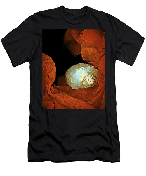 Men's T-Shirt (Athletic Fit) featuring the mixed media Shell On Satin by Lynda Lehmann