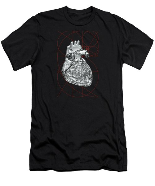 Silver Human Heart On Black Canvas Men's T-Shirt (Slim Fit) by Serge Averbukh