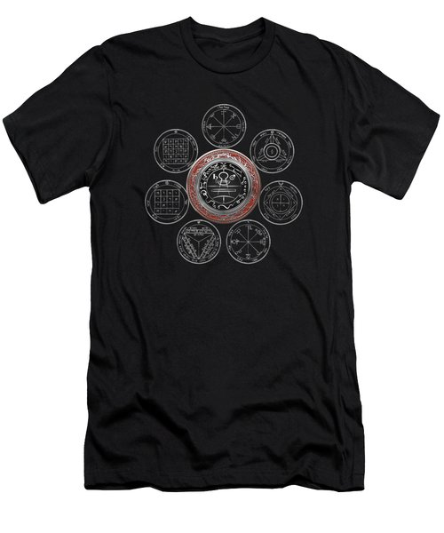 Silver Seal Of Solomon Over Seven Pentacles Of Saturn On Black Canvas  Men's T-Shirt (Athletic Fit)