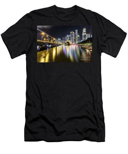 Singapore River At Night With Financial District In Singapore Men's T-Shirt (Athletic Fit)