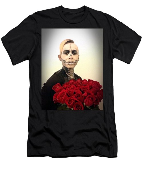 Skull Tux And Roses Men's T-Shirt (Slim Fit) by Kent Chua
