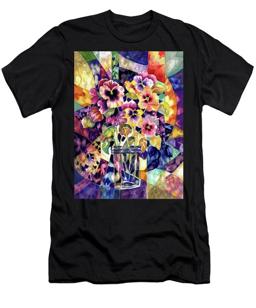 Stained Glass Pansies Men's T-Shirt (Athletic Fit)