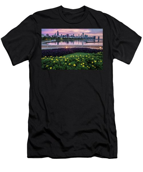summer flowers and Chicago skyline Men's T-Shirt (Athletic Fit)