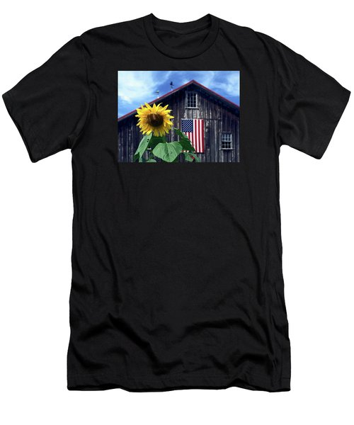 Sunflower By Barn Men's T-Shirt (Slim Fit) by Sally Weigand