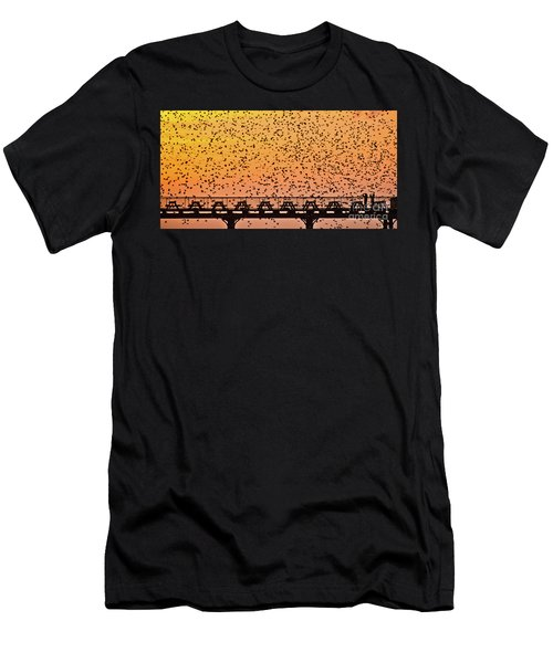 Sunset And Starlings In Aberystwyth Wales Men's T-Shirt (Athletic Fit)