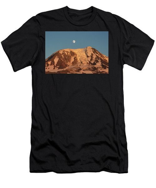 Men's T-Shirt (Slim Fit) featuring the photograph Sunset And Moonrise At Mt Adams by Jack Moskovita