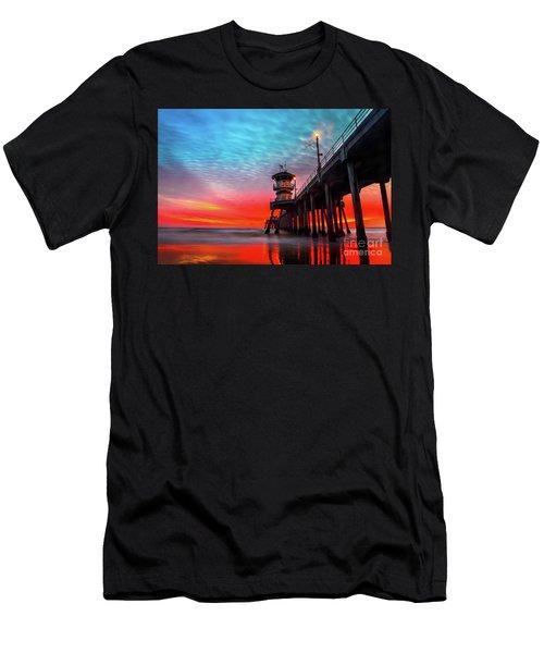 Sunset At Huntington Beach Pier Men's T-Shirt (Athletic Fit)
