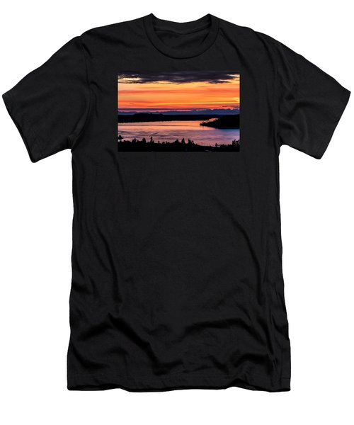 Sunset Over Hail Passage On The Puget Sound Men's T-Shirt (Slim Fit) by Rob Green