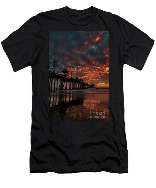 Sunset Over Huntington Beach Pier Men's T-Shirt (Athletic Fit)