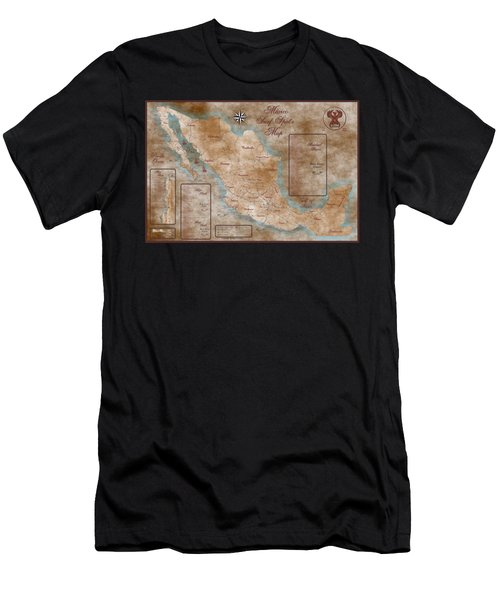 Mexico Surf Map  Men's T-Shirt (Slim Fit) by Lucan Hirales
