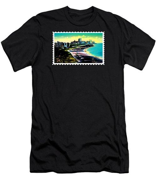 Surreal Colors Of Miami Beach Florida Men's T-Shirt (Slim Fit) by Elaine Plesser